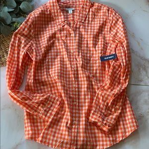 NWT- Old Navy Orange gingham long sleeve - Size L.